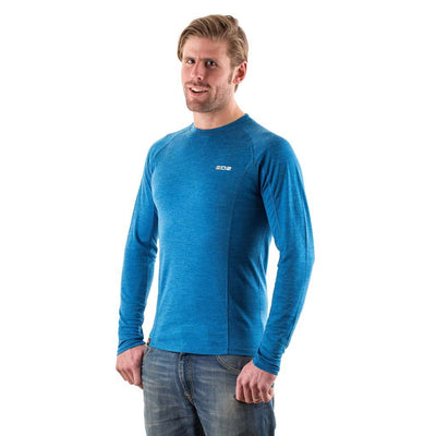EDZ Merino Wool Base Layer Long Sleeve Crew 200g Men's Seaport Blue