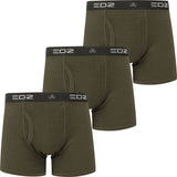 EDZ Merino Wool Boxer Short Trunk Underwear Mens Olive Green 3 pack