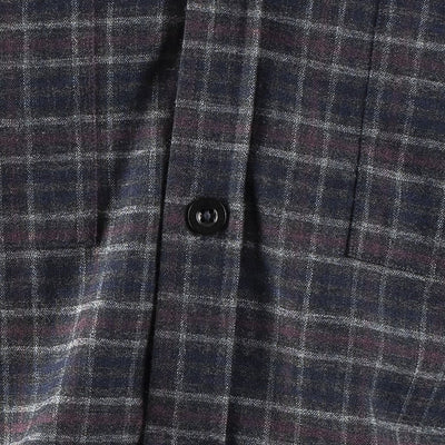 EDZ Merino Wool Plaid Flannel Shirt Grey