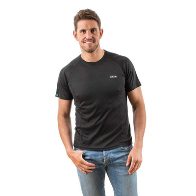 EDZ All Climate Motorcycle Wicking Base Layer Crew T-shirt Black