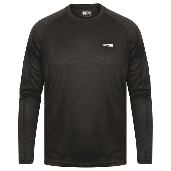 EDZ All Climate Wicking Motorcycle Base Layer Long Sleeve Crew Black