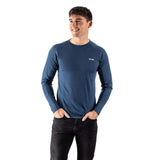 EDZ 200gsm Merino Base Layer Thermal Long Sleeve Crew Mens Denim Blue