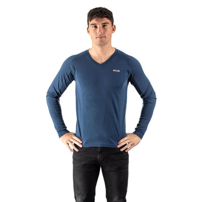 EDZ 200gsm Merino Base Layer Thermal Long Sleeve V-Neck Mens Denim Blue