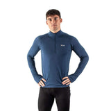 EDZ Men's Merino Wool Base Layer Zip Neck Top Denim Blue 200g