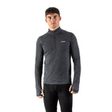 EDZ Men's Merino Wool Base Layer Zip Neck Top Graphite Grey 200g