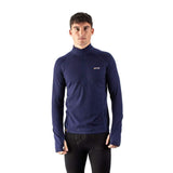 EDZ Men's 260g Merino Base Layer Half Zip Long Sleeve Top Indigo Blue