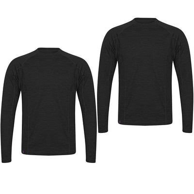 EDZ 200gsm Merino Wool Mens Long Sleeve Crew Neck Base Layer Top Black (2 Pack)