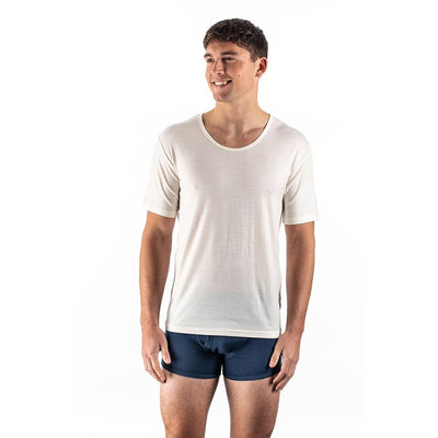 EDZ Merino Wool Thermal Underwear T-shirt Men's Natural White (2 Pack)