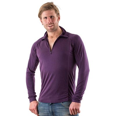 EDZ Men's Merino Wool Base Layer Zip Neck Top Purple 150g