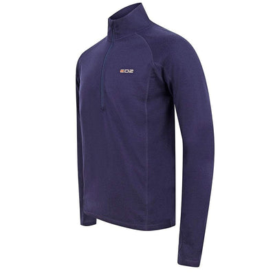 EDZ Men's 260gsm Merino Wool Base Layer Zip Neck Top Indigo Blue