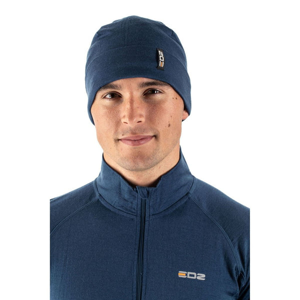 EDZ Merino Wool Thermal Beanie Hat Denim Blue