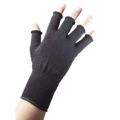 EDZ Merino Wool Fingerless Thermal Gloves Black