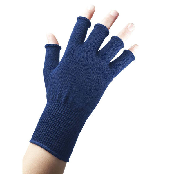 EDZ Merino Wool Fingerless Thermal Gloves Blue