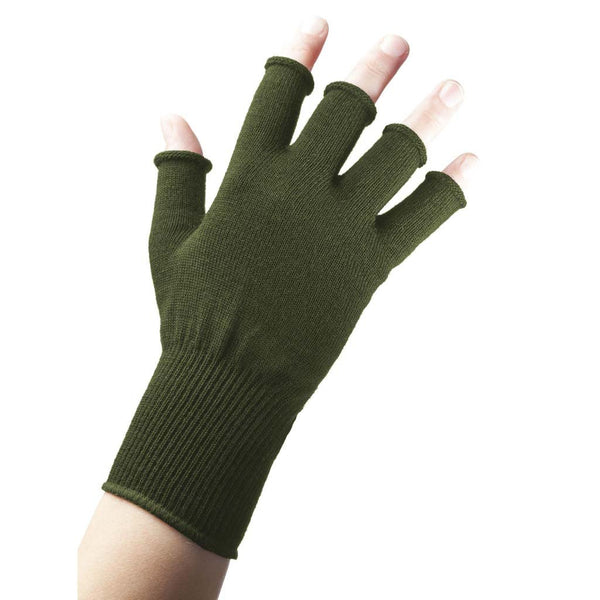 EDZ Merino Wool Fingerless Thermal Gloves Olive Green