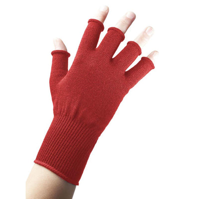 EDZ Merino Wool Fingerless Thermal Gloves Red