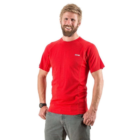 EDZ 200g Mens Merino Wool Base Layer T-Shirt Red
