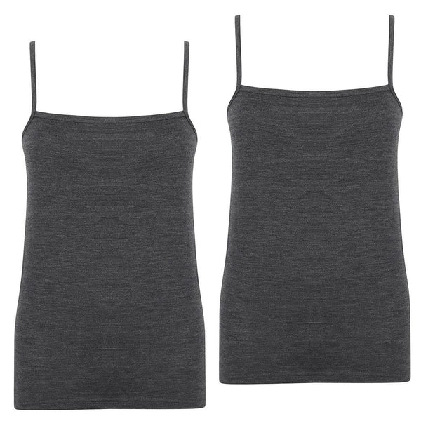EDZ 200gsm Womens Merino Cami Graphite Grey (2 pack)