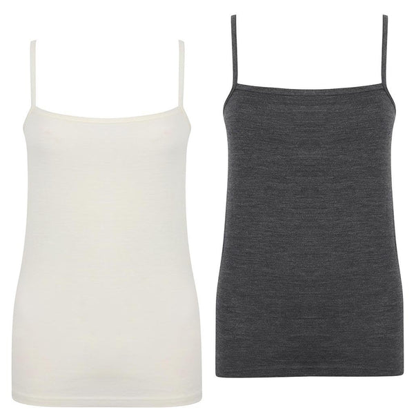 EDZ Merino Cami Womens Graphite/ White (2 pack)