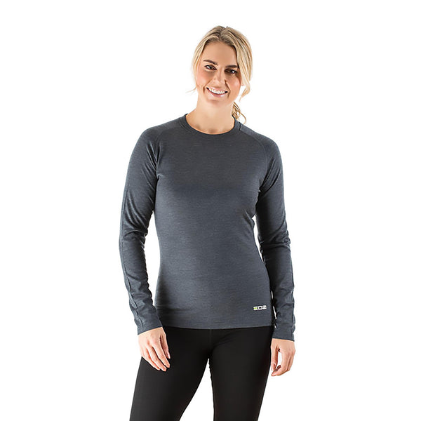 EDZ 200gsm Merino Womens Long Sleeve Crew Neck Top Graphite Grey