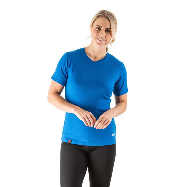 EDZ Merino Wool Women's Base Layer V-Neck T-shirt Blue