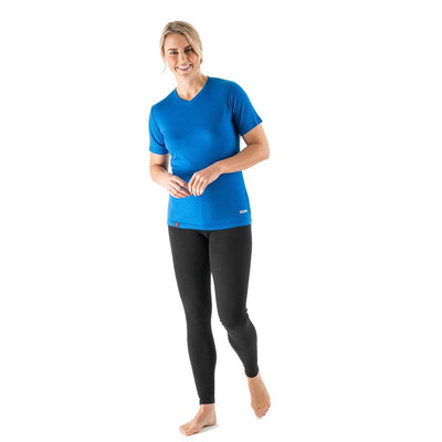 164fa628f0b0c ... EDZ Women's Merino Wool V-Neck T-shirt Blue 200g