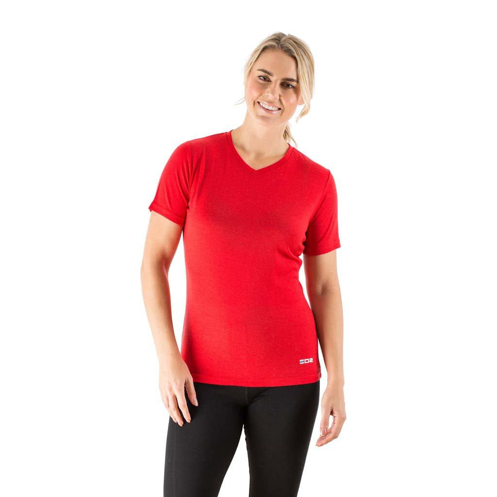 Edz merino wool women 39 s base layer v neck t shirt red for Merino wool shirt womens