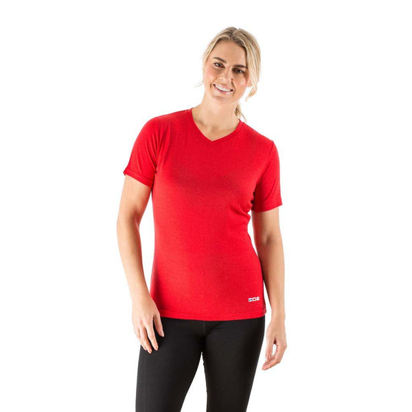 EDZ Merino Wool Women's Base Layer V-Neck T-shirt Red