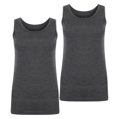 EDZ 200gsm Merino Vest Womens Graphite Grey (2 pack)