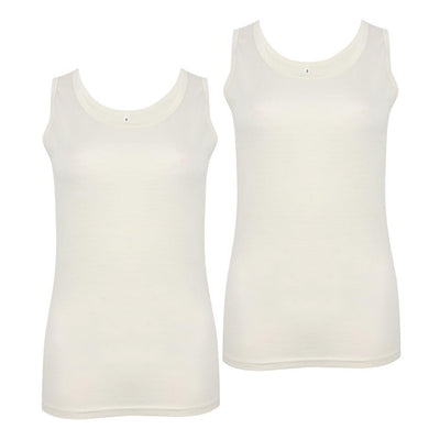 EDZ 190gsm Merino Wool Thermal Underwear Vest Womens White (2 Pack)