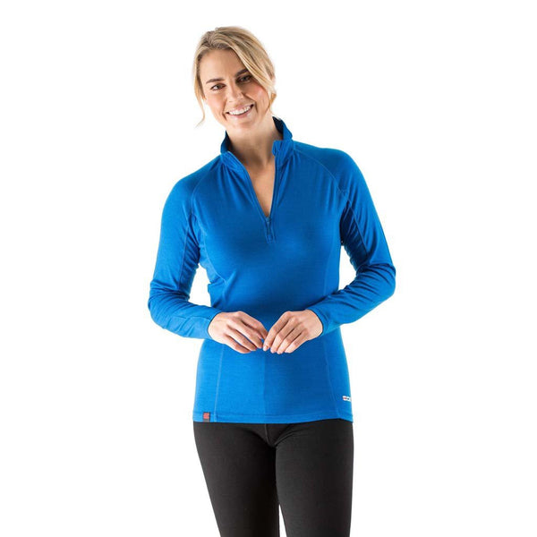EDZ Merino Wool Womens Zip Neck Base Layer Top Snorkel Blue
