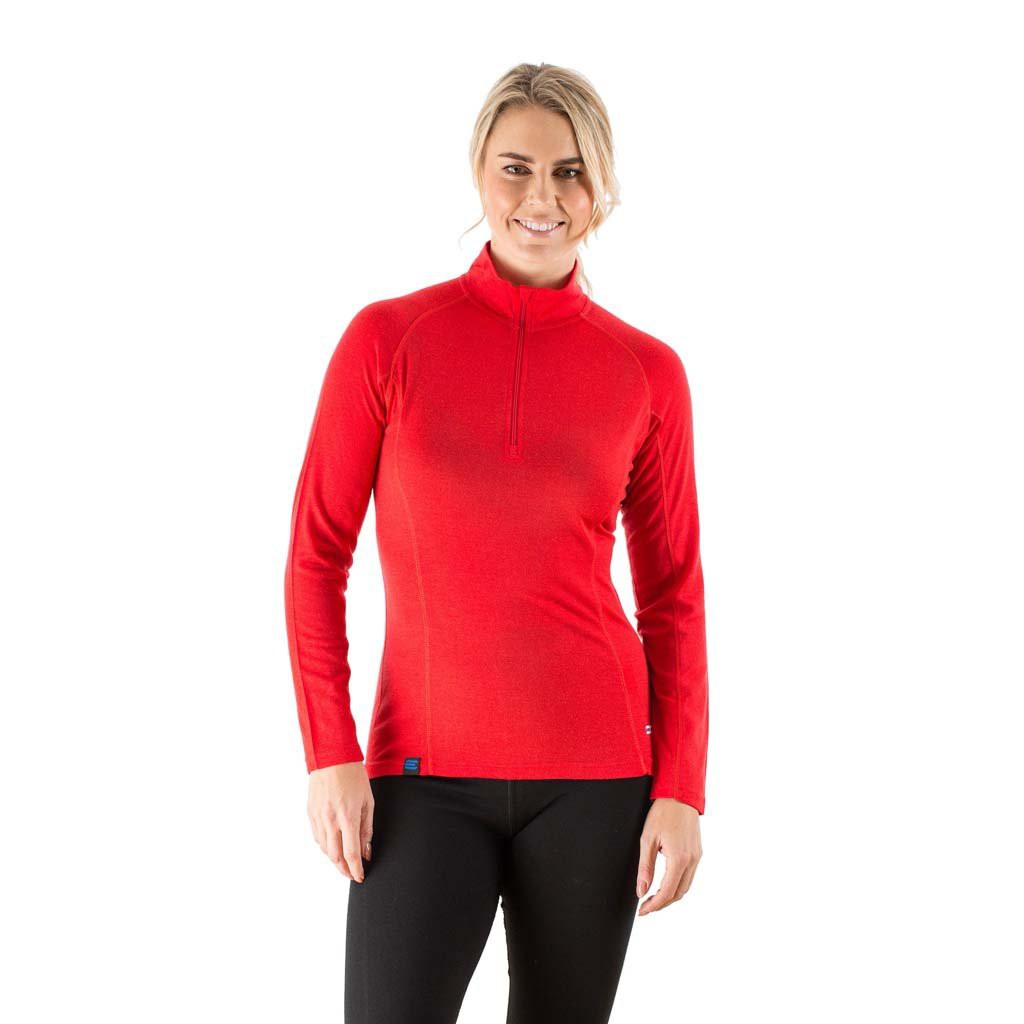 c75132c7bd2fb EDZ Women's Merino Wool Base Layer Zip Neck Top Red 200g