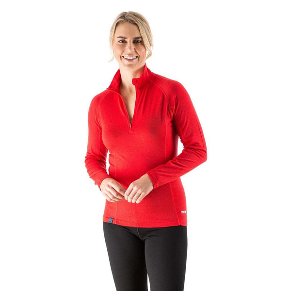 EDZ Merino Wool Womens Zip Neck Base Layer Top Red