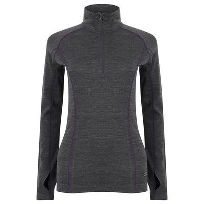 EDZ Womens Merino Wool Base Layer Zip Neck Top Graphite with Purple