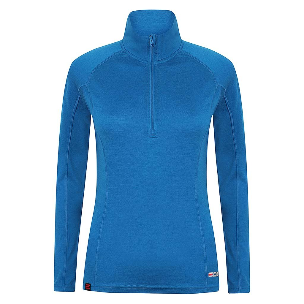 63c8f497a45df EDZ Women's Merino Wool Base Layer Zip Neck Top Blue 200g