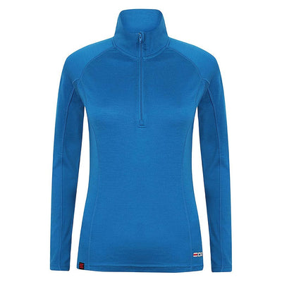 EDZ Women's Merino Wool Base Layer Zip Neck Top Blue 200g