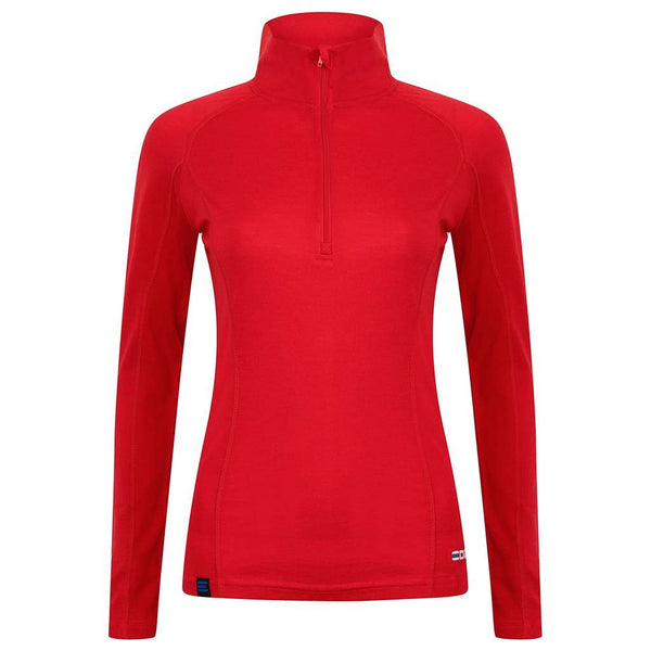 EDZ Women's Merino Wool Base Layer Zip Neck Top Red 200g