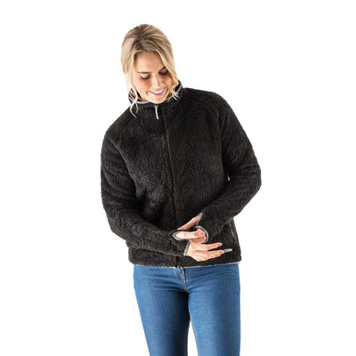 EDZ Yeti Jacket Fleece Jacket Black with Grey Trim