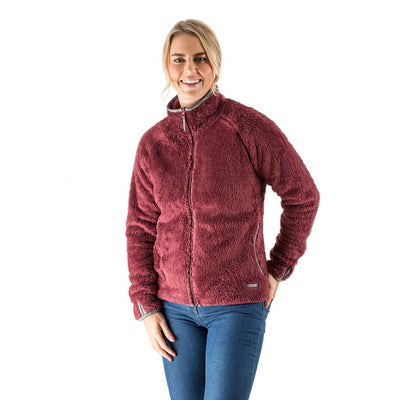 EDZ Yeti Fleece Jacket Red with Grey Trim