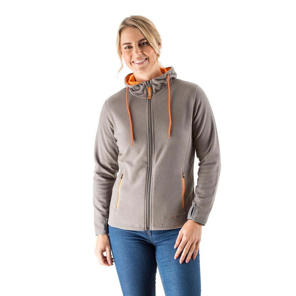 EDZ Womens Microfleece Midlayer Hoodie Steel Grey