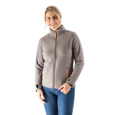 EDZ Womens Microfleece Midlayer Jacket Full Zip Steel Grey