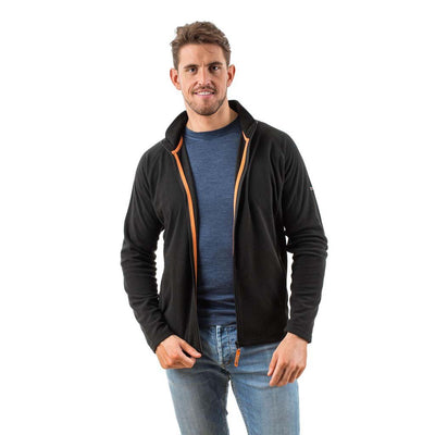 EDZ Microfleece Midlayer Jacket Full Zip Black with Orange