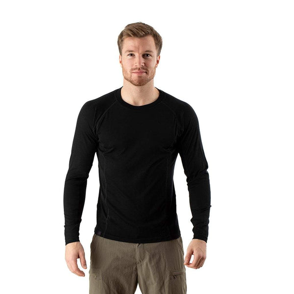 EDZ 200gsm Merino Wool Mens Long Sleeve Crew Neck Base Layer Top Black