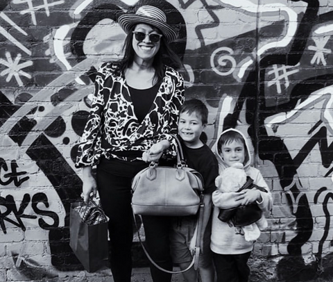 Mel with 2 of her 3 sons in Fitzroy.