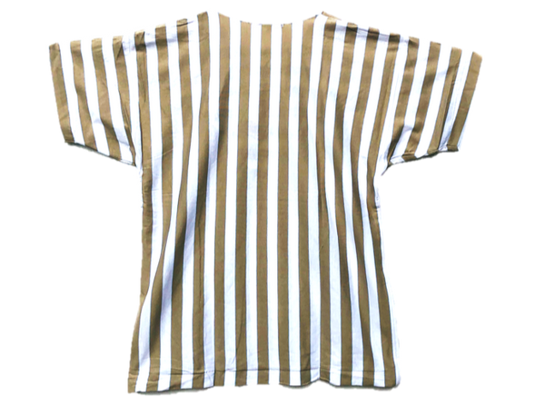 Taupe and White Vertical Stripe tee