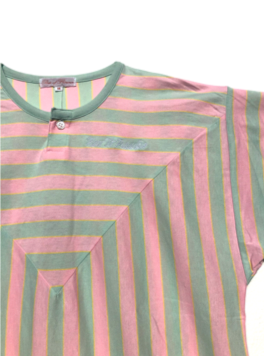 Pink, Mint, Yellow Vertical Stripe tee