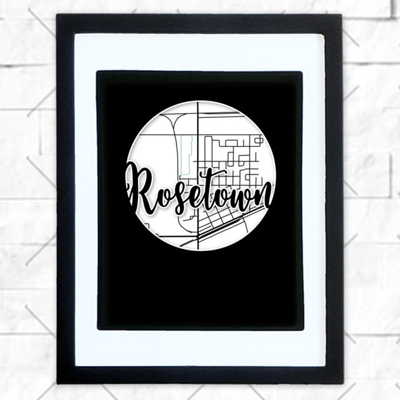 Close-up of Rosetown hometown map design in black shadowbox frame with white matte