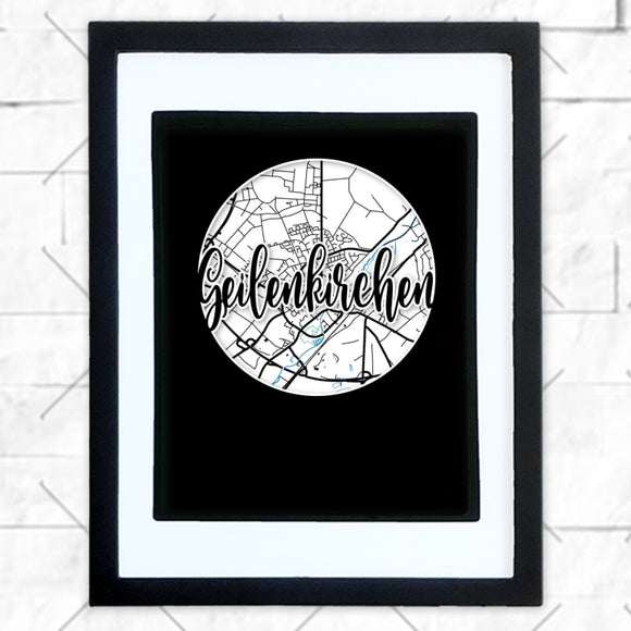 Close-up of Geilenkirchen hometown map design in black shadowbox frame with white matte