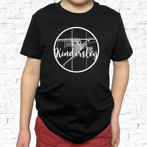 youth-sized black short-sleeved shirt with white Kindersley hometown map design