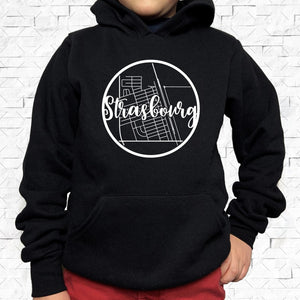 youth-sized black hoodie with white Strasbourg hometown map design