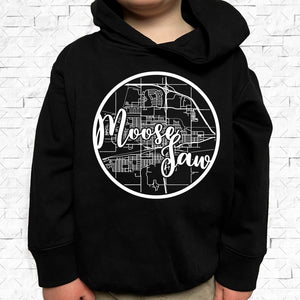 toddler-sized black hoodie with Moose Jaw hometown map design